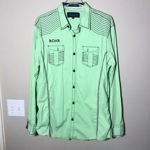 Men's Roar Signature Lime Green Button Up Shirt